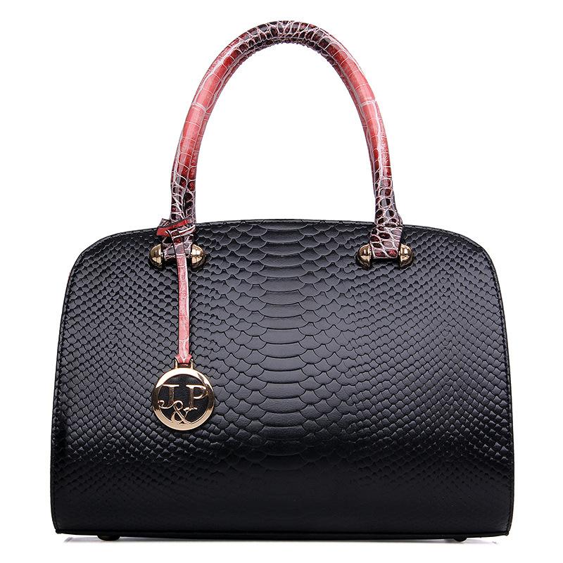 Top PU Leather Women Elegant Boston Versatile Casual Tote Bag Hot Sale Elegant Solid Serpentine Messenger Famous Brand Ladies(China (Mainland))