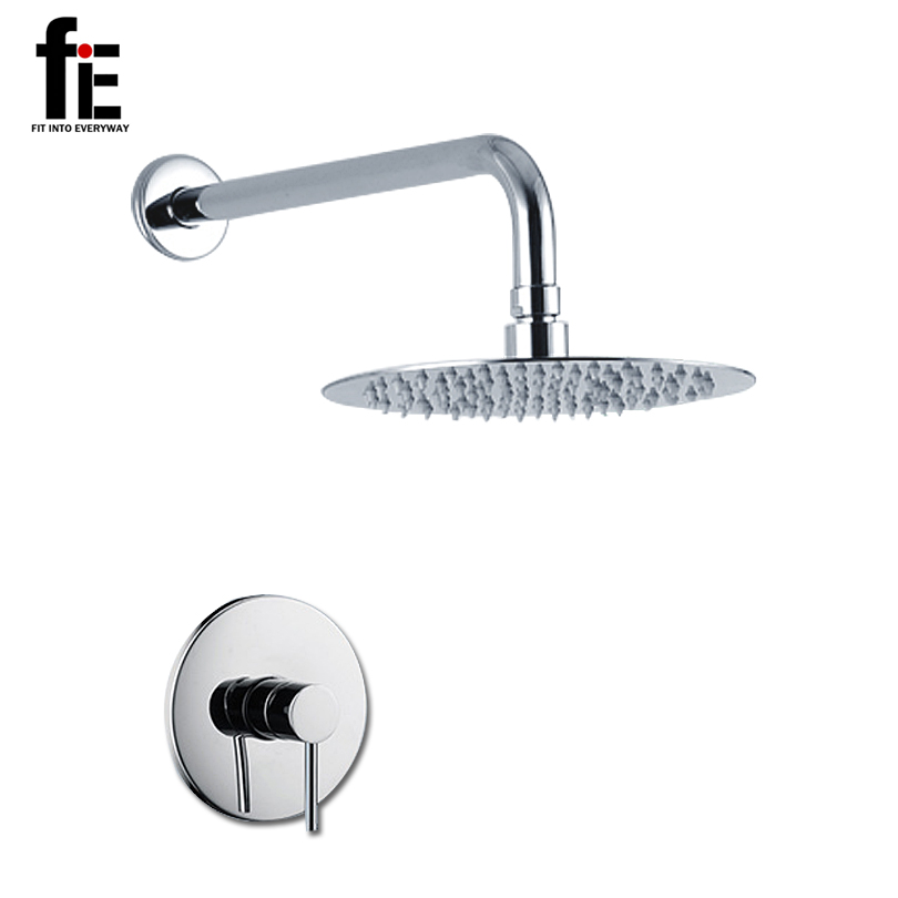 """FITINTOEVERYWAY Round Shower Faucet Sets 9"""" Rainfall Bath Shower mixer Nickel Brushed Shower Bath(China (Mainland))"""