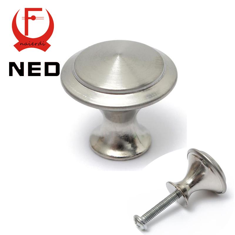 NED Diameter 24/28mm Zinc Satin Nickel Cabinet Pull Cupboard Drawer Handle Knobs Wardrobe Handle With Screw Furniture Hardware(China (Mainland))