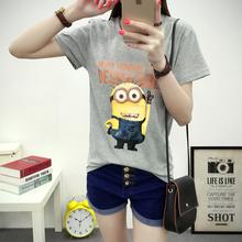 2016 Sexy cute Womens Lycra Tee T Shirt Ladies Slim Summer 3d kawaii Women T-Shirts Minions Casual Cartoon harajuku tshirt tops(China (Mainland))