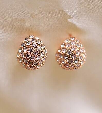 Fashion Silver Gold of the Teardrop-shaped Stud Earrings Jewelry Women Gift Zinc Alloy Crystal Earrings Wholesale Free Shipping