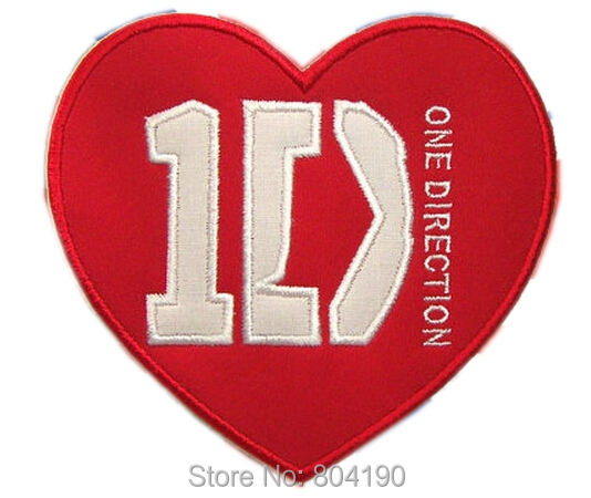 "5"" 1D HEART ONE DIRECTION Music Band Iron On/Sew On Patch LARGE Tshirt TRANSFER MOTIF APPLIQUE Rock Punk Badge Christmas X'mas(China (Mainland))"