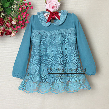 New Fashion Ckildren Spring Dress Blue Flower With lace Dresses Baby Girls Wear For Kids Clothing