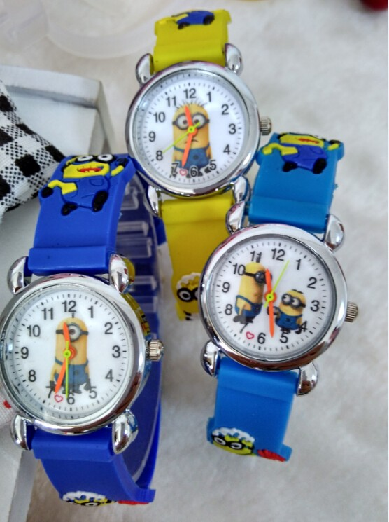 1pcs NEW Cartoon 3D Children Watch Good Gift kids watch Despicable Me Minions fashion wristwatch