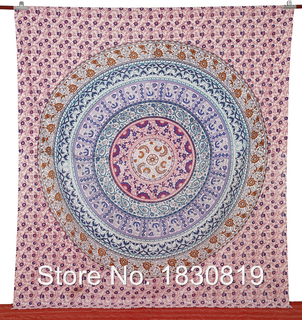 Bed sheet, Indian Mandala Tapestry, Kaleidoscopic, Bohemian Bedding (QUEEN Size, 100% Premium Quality)Perfect Gift for Home Deco