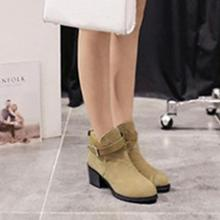 One Pair of Boots Women's Winter Snow Ladies Buckles Low Heel Ankle Boots Shoes - one -m5(China (Mainland))