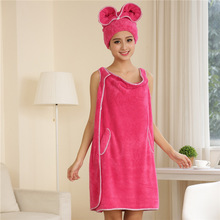 F014 coral fleece changed pure color bath skirt bath cap suits The new soft water quality(China (Mainland))