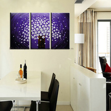 Buy 3 panel canvas art triptych paintings Purple flower abstract modern canvas wall art handmade oil painting canvas living room for $39.02 in AliExpress store