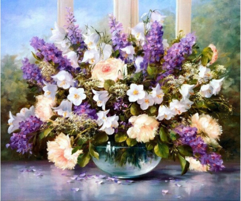 DIY Lavender Oil Painting for Wall Coloring By Numbers Kit Abstract Drawing Painting Frameless Pictures Unique Gift Home Decor(China (Mainland))