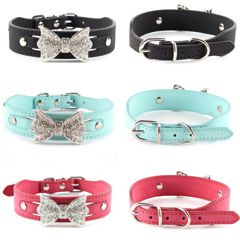 Dog Collar Bling Crystal Bow Leather Pet Collar Puppy Choker Cat Necklace XS S M(Hong Kong)