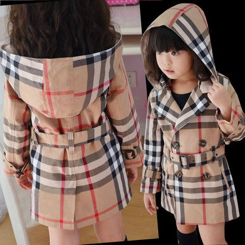 Retail Fashion 2016 Baby Girls Classic Plaid Coats Hoodie Jackets Brand Childrens Outerwear Outfits Girls Hoodies Kids Trench(China (Mainland))