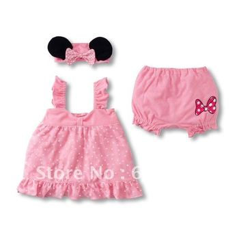 Stock Clearance Low Price! Free Shipping 4sets Girls Clothes Suits Pink Girl Clothing 3-pc Set Baby CLothes Children Clothes