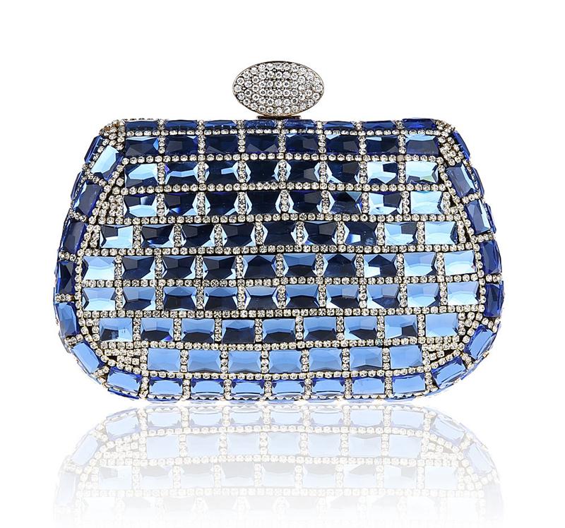 2016 High Quality Blue Evening Bag Womens Beaded Zircon Handbag Clutch Birthday Gift Party Purse Makeup Bag Mujeres Bolso 0992<br><br>Aliexpress
