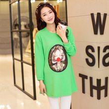Tees Maternity Shirt Tops For Pregnant Women Plus Velvet Long-Sleeve Maternity Clothing Autumn And Winter Top Maternity T-Shirt(China (Mainland))