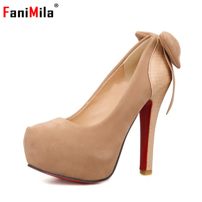 big size 32-46 ladies high heel pumps fashion bowknot footwear thin heeled brand quality round toe appliques heels shoes P23423 - Aicci Aizzi., LTD store