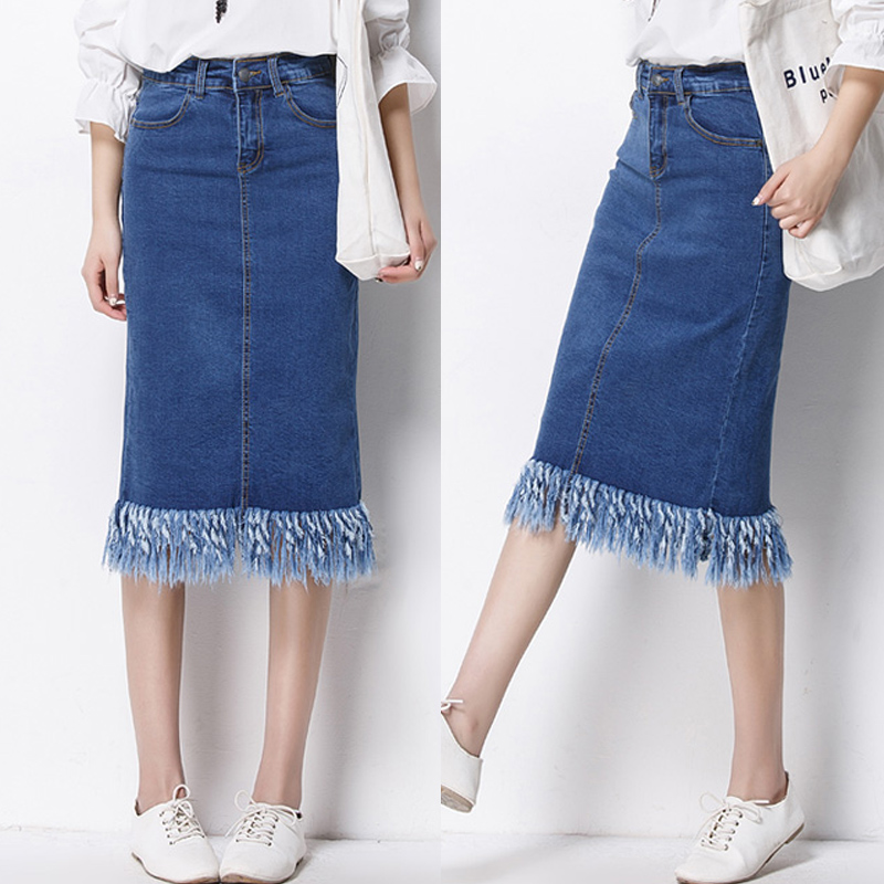 popular denim mid calf skirt buy cheap denim mid calf