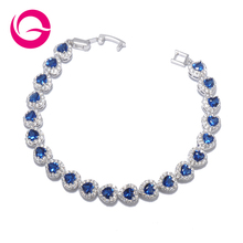 Top Design Luxury Jewelry Romantic Love Heart Shape Blue AAA Cubic Zirconia White Gold Plated Bracelets Gift for Woman GLS0507(China (Mainland))