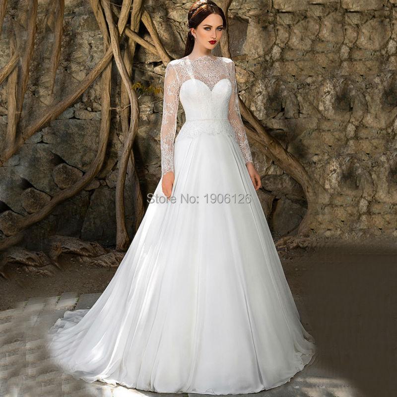 Чистая родниковая белый с длинным рукавом кружева бато свадебное платье декольте шифон свадебное платье жемчуг Vestido де noiva манга лонга
