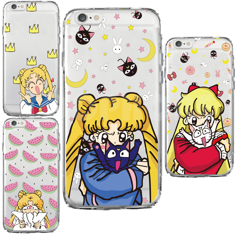 Beautiful Girl Soldier Red Heart Crown Sailor Moon Star Cartoon Design Phone Case For iphone 5 5s 6 6s 6s Plus Transparent Case(China (Mainland))