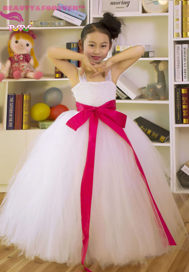 Custom Made Tulle Handmade Lined Tank Top and Bottom Tutu Flower Girl Dresses(China (Mainland))