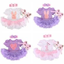 New Newborn Baby Girl Infant Clothing 3pcs/Sets 2016 Tutu Romper Dress/Jumpsuit+Headband+Shoes Christmas Bebe Birthday clothes