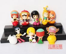 Anime Cartoon One Piece Luffy Zoro Franky Nami Cute PVC Action Figures Toys Dolls 9pcs/set Christmas Gifts