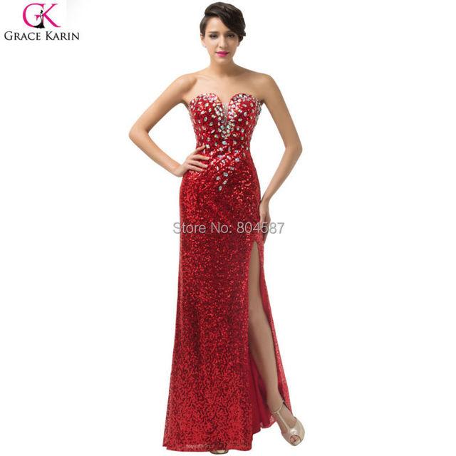 Длинный красный вечернее платье 2016 одежды де вечер грейс карин блеск без бретелек ...