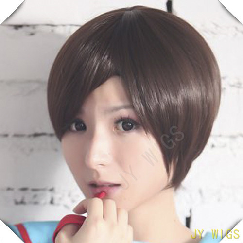 Short Straight  Wig Cosplay  Synthetic Cosplay Anime Ponytail Wig For Lady Costume