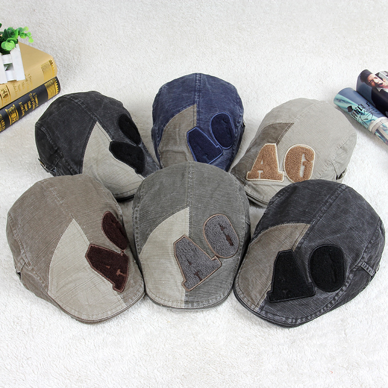 2015 Outdoor summer breathable cotton beret hat Men Women Fashionable tide wild Plaid cap with AG Letters (YP13)(China (Mainland))
