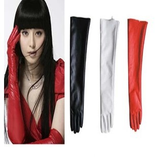 50cm Women's Long Leather Gloves Ultra Long Faux Leather Long Design Fashion Gloves Black Red Gloves For Women(China (Mainland))