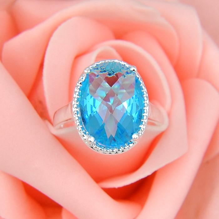 Новые овальные кристалл своих голубой топаз стерлингового серебра 925 ювелирные изделия кольца россия кольца австралия кольца