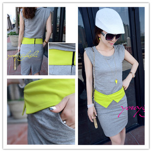 Kaka fashion t-shirt grey neon color slim hip bust skirt set twinset  -  merry xu's store store