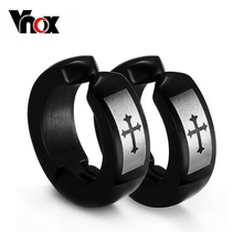 Punk hoop earring men jewelry stainless steel biker cross rock jewelry black earrings wholesale(China (Mainland))