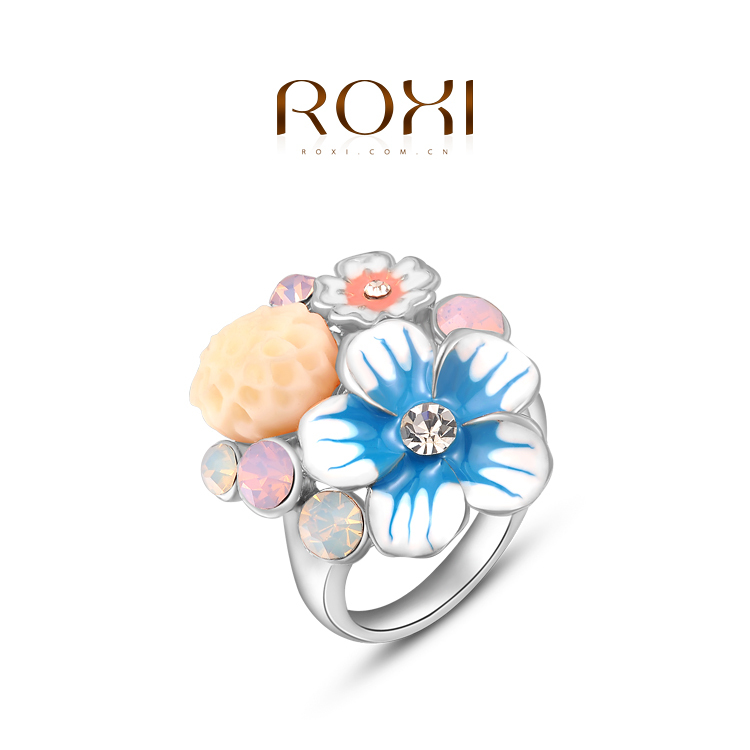 ROXI white gold flower rings women created crystal wedding (2 colors 3 sizes rose gold) freeshipping - international trading LTD ( and retail store)