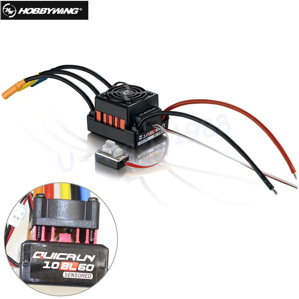 1pcs Original Hobbywing QUICRUN 10BL60 Sensored 60A 2-3S Lipo BEC Speed Controller Brushless ESC 1/10 1/12 RC Car