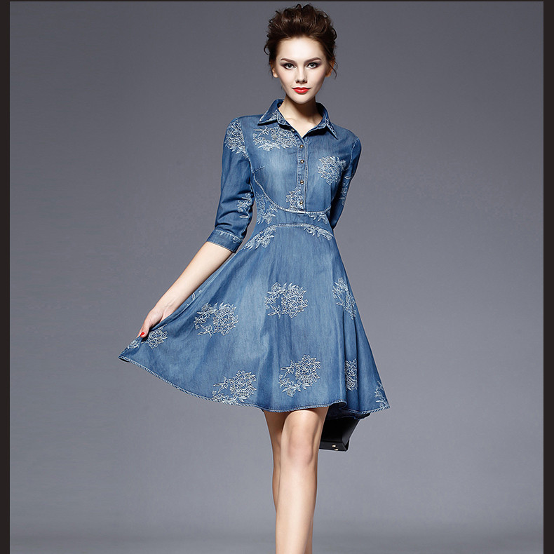 2015 Summer Autumn Style Vintage Half Sleeve Slim Summer Dress Plus Size Clothing Embroidered Women Vestidos Jeans Denim Dress(China (Mainland))