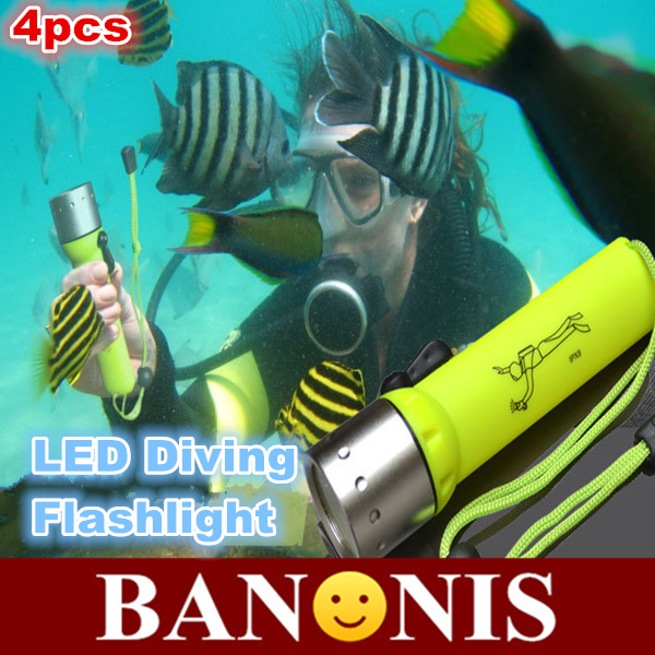 led underwater diving flashlight,waterproof Cree Q5 flash light,bright light diving lights,magnetic control lumens,hand crank,4x(China (Mainland))