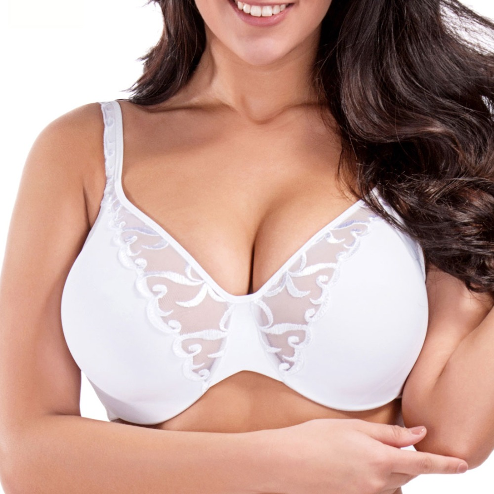 Wholesales or Retail Comfort Full Coverage Non padded Underwire Embroidered Minimizer Bra 34 36 38 40 42 C D DD DDD F W617(China (Mainland))