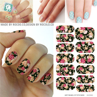 K5708B Water Transfer Nails Art Sticker Pink Red Rose Flowers Design Nail Sticker Manicure Decor Tools Cover Nail Wraps Decals(China (Mainland))