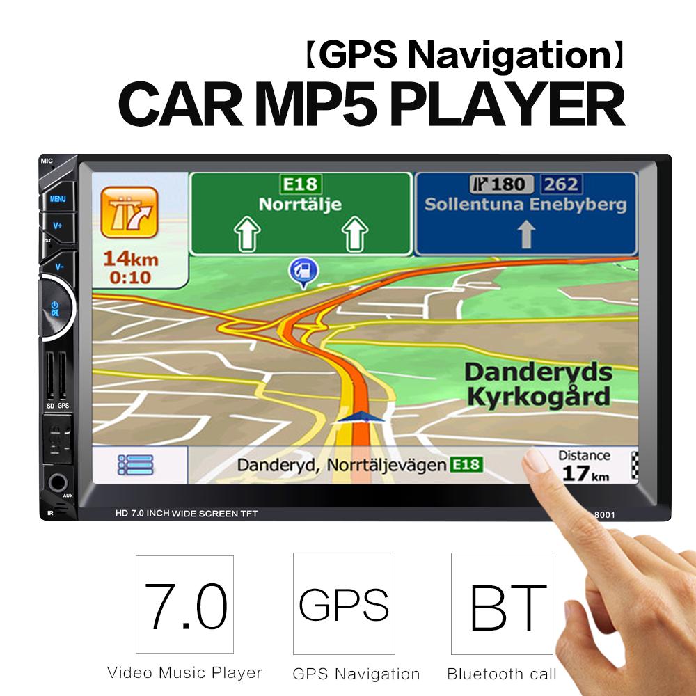 2 Din Car Video Player 7'' 2Din Car Radio Stereo GPS Navigation FM RDS Bluetooth Remote Control Rear View Camera(China (Mainland))