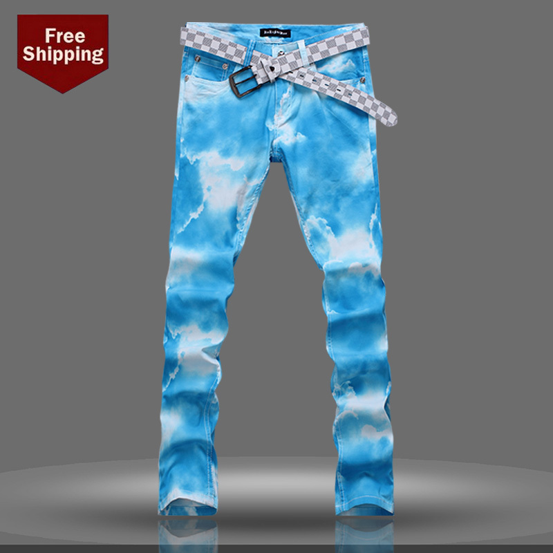 Free Shipping New Autumn & Winter Paiting Slim Fit Men Jeans Pants Blue Sky and White Cloud Coloured Drawing Jeans Skinny Pants(China (Mainland))
