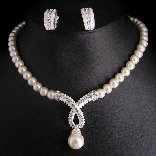 Crystal Rhodium Plated Charm Women Wedding Party Gifts Promotion Elegant Fashion Imitation Pearl Costume Bridal Jewelry Sets