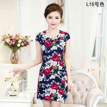 Vestidos L-4XL 2016 New Fashion Women Summer dress Slim Tunic Milk Silk print Floral dresses Casual Plus Size sexy bodycon dress(China (Mainland))