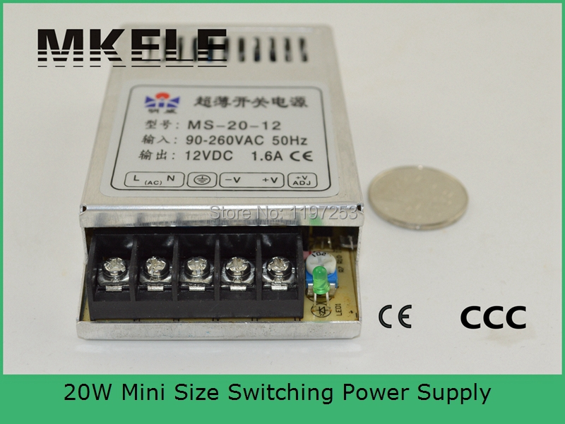 single output low price small volume high efficiency switching power supply 48v dc 20w MS-20-48 0.4a with metal case(China (Mainland))