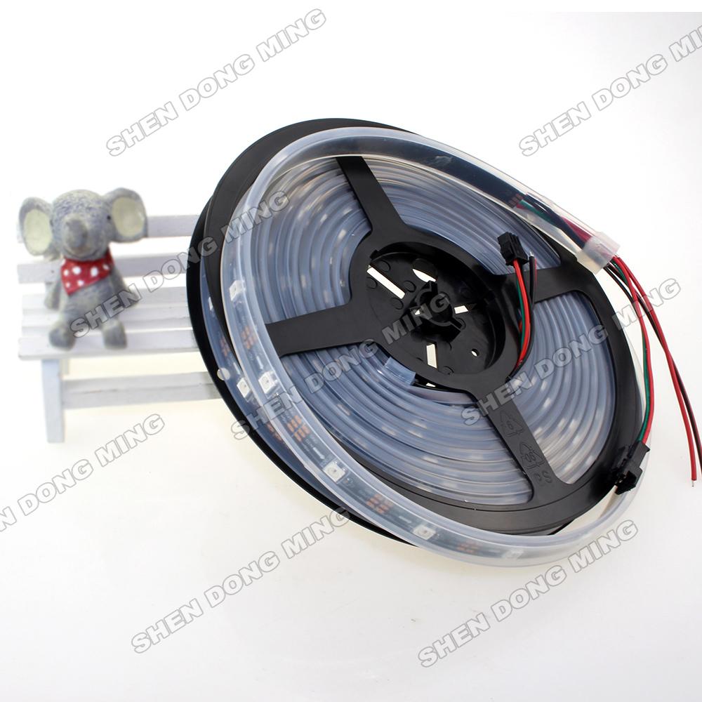 4m DC5V 60Leds/M 60IC/M IP67 Waterproof digital LED Strip WS2812B Changeable Color rgb flexible led light 5050(China (Mainland))