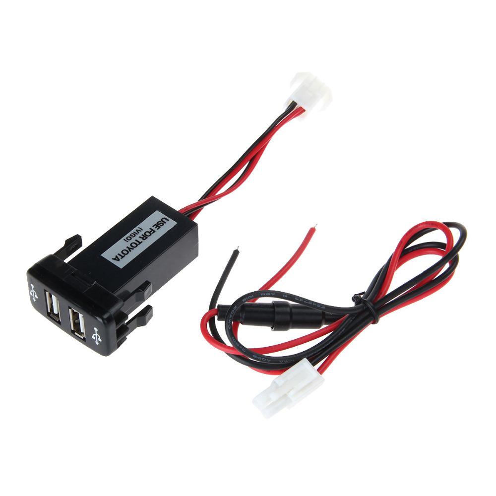 12V 2.1A Dual USB Port Power Socket Mobile GPS Car Charger For TOYOTA VIGO - Black(China (Mainland))