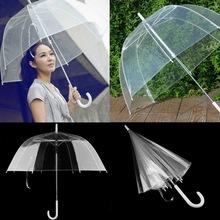 1pc New Long Handle Color Transparent Umbrella Rain Women Semi-automatic Umbrellas Paraguas(China (Mainland))