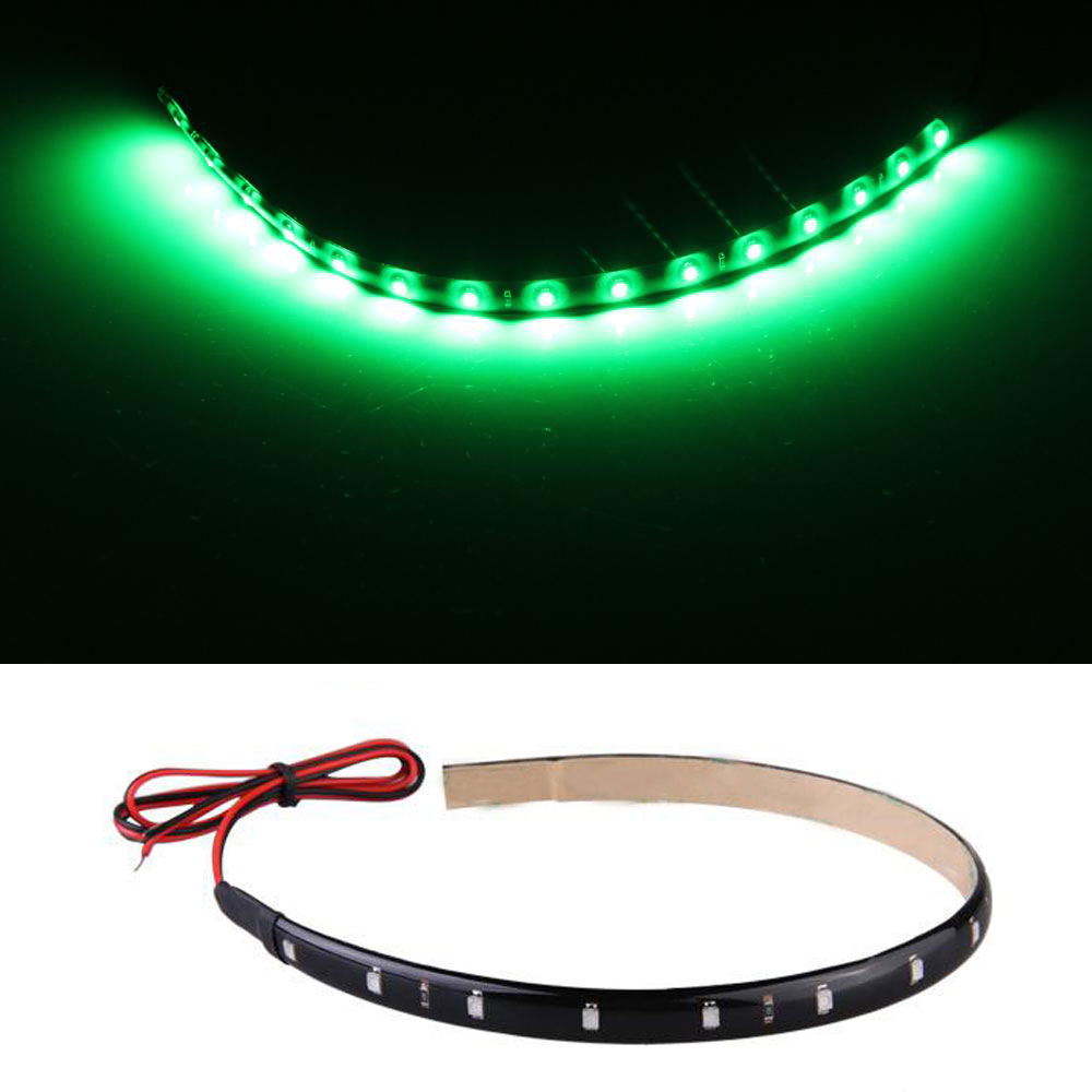 CARCHET 30cm 15 Neon Flexible Waterproof Green LED Strip Bar Light Car Motor Truck Decoration Lights - Top Store ACE store