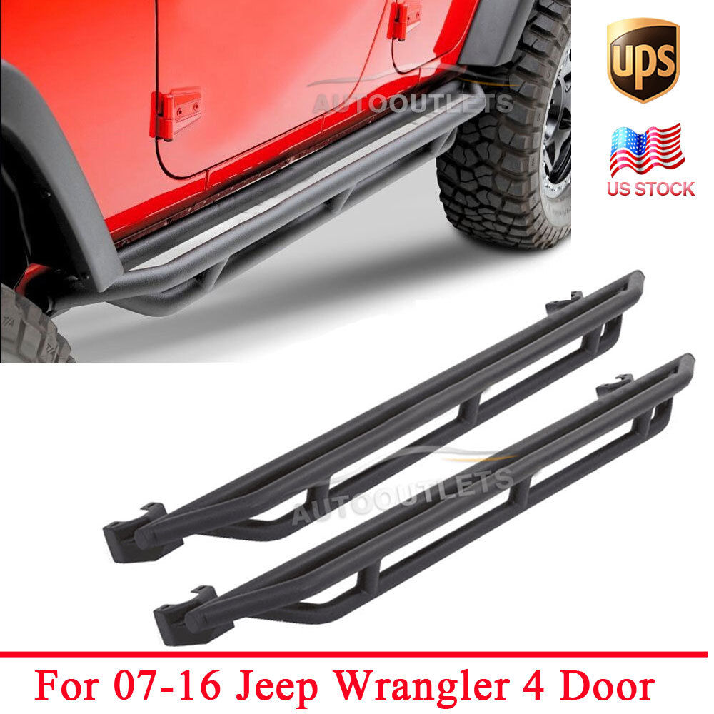 Pair Side Armor Bars Nerf Step Running Boards Black For 07 16 Jeep Wrangler JK & Unlimited 4 ...