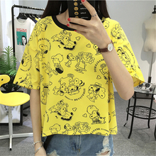 Buy 2017 New Harajuku Summer Kawaii Cartoon Character Printed Yellow Top Female Casual Loose Short T-shirts Women Funny T shirts XL for $6.71 in AliExpress store